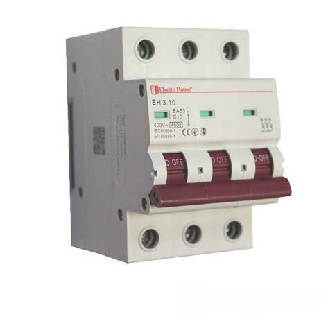 ElectroHouse Автоматический выключатель 3P 10A 4,5kA 230-400V IP20, фото 2