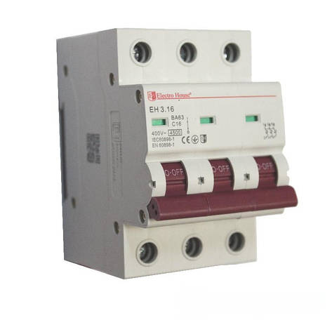 ElectroHouse Автоматический выключатель 3P 16A 4,5kA 230-400V IP20, фото 2