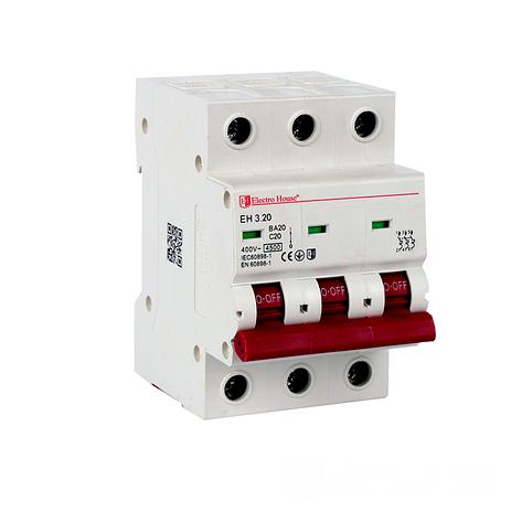 ElectroHouse Автоматический выключатель 3P 20А 4,5kA 230-400V IP20, фото 2