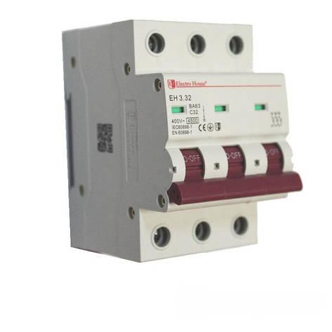 ElectroHouse Автоматический выключатель 3P 32A 4,5kA 230-400V IP20, фото 2