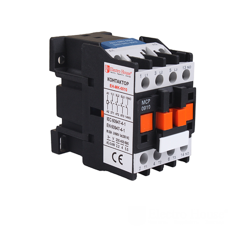 ElectroHouse Контактор магнитный 3P 9A  220-230V IP20 4НО, фото 2