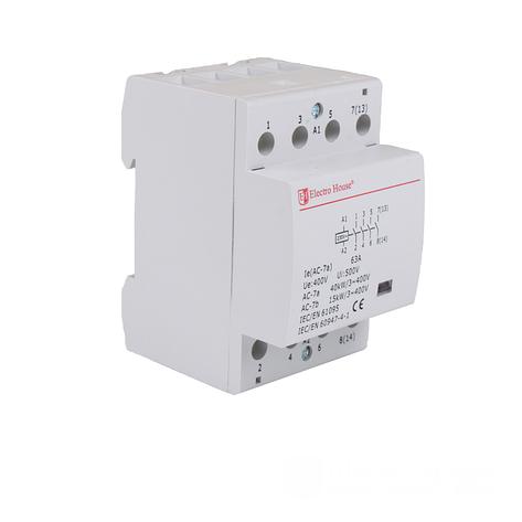 ElectroHouse Контактор модульный 4P 63A 220-230V IP20 4НО, фото 2