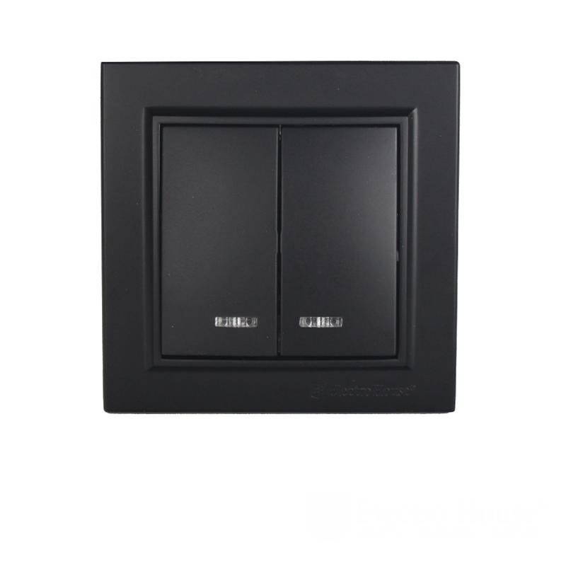 ElectroHouse Выключатель двойной с подсветкой Безупречный графит Enzo IP22