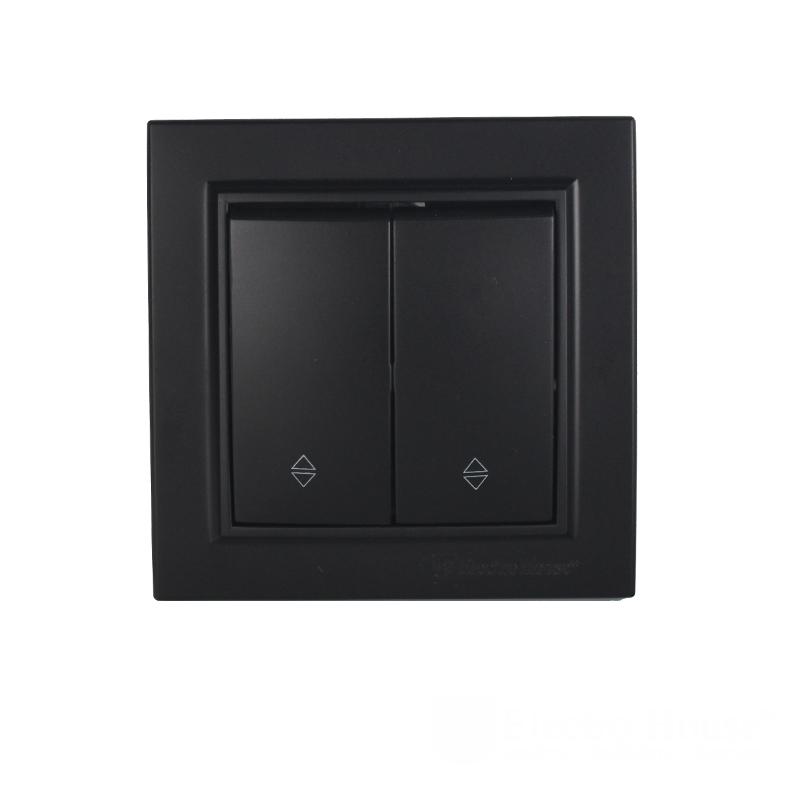 ElectroHouse Выключатель проходной двойной Безупречний графит Enzo IP22