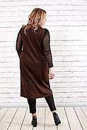 Женская удлиненная жилетка на запахе с карманами 0784 / размер 42-74 / цвет шоколад, фото 4