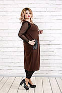 Женская удлиненная жилетка на запахе с карманами 0784 / размер 42-74 / цвет шоколад, фото 2