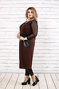 Женская удлиненная жилетка на запахе с карманами 0784 / размер 42-74 / цвет шоколад, фото 3