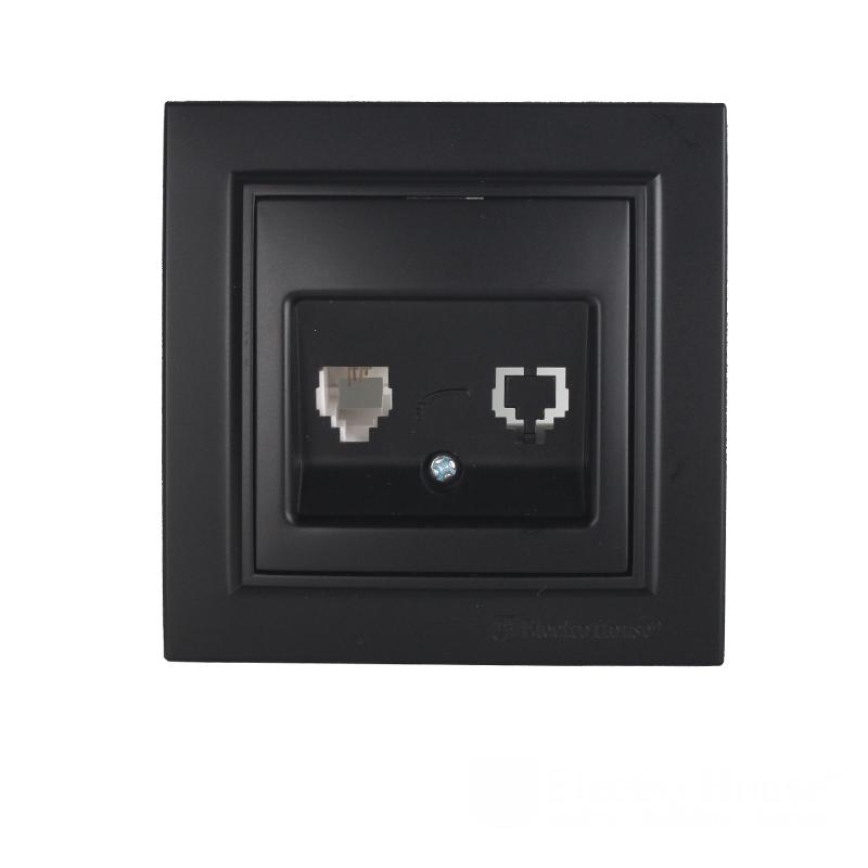 ElectroHouse Розетка компьютерная  Безупречный графит Enzo 1x8P8C IP22