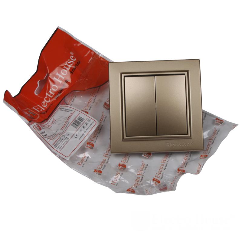 ElectroHouse Выключатель двойной Роскошно золотой Enzo IP22