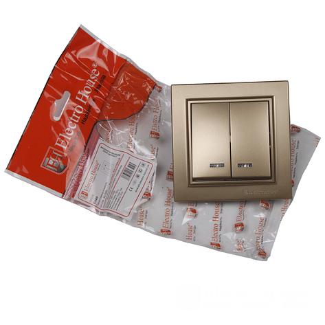 ElectroHouse Выключатель с подсветкой двойной Роскошно золотой Enzo IP22, фото 2