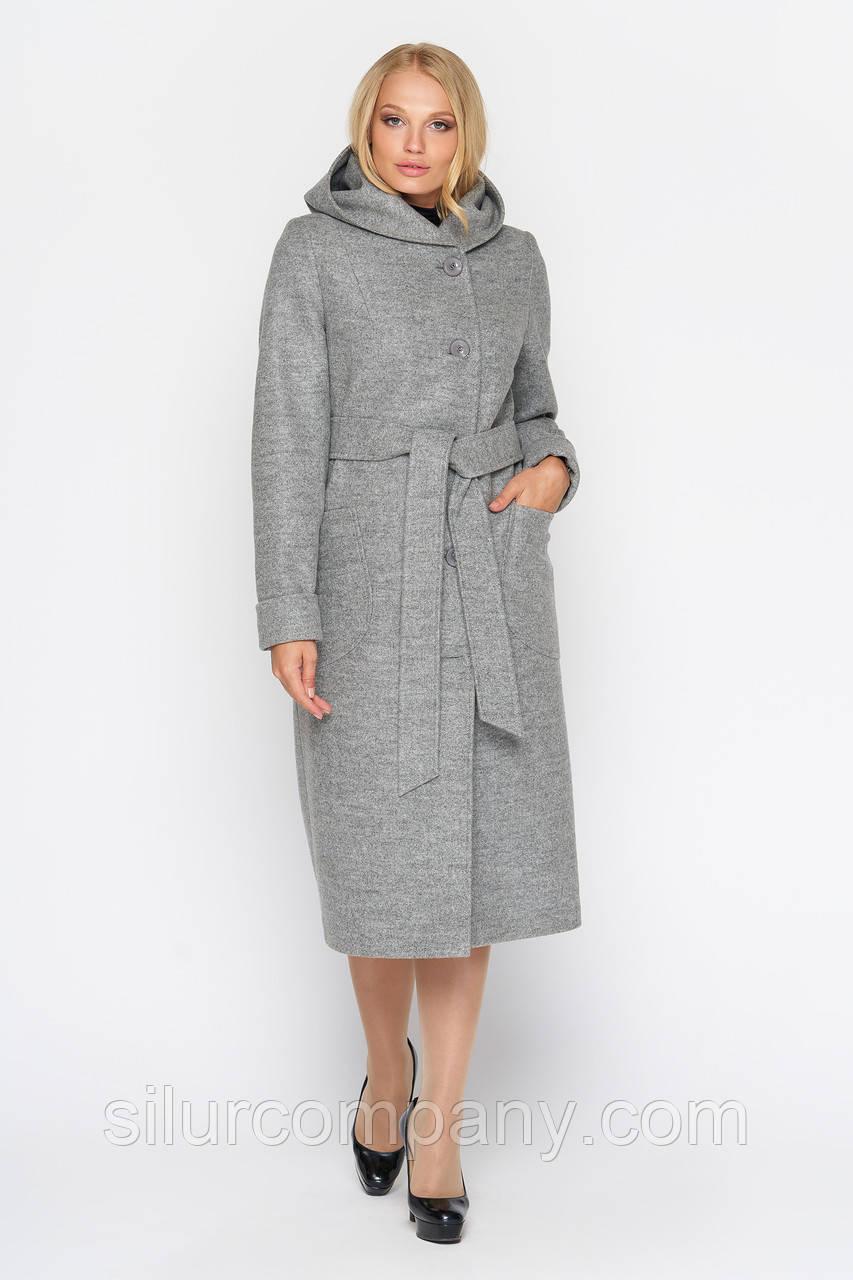 Серое женское пальто осеннее удлиненное  d0bb9bd35b28e