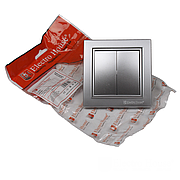 ElectroHouse Выключатель двойной Серебряный камень Enzo IP22