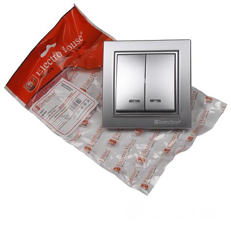 ElectroHouse Выключатель с подсветкой двойной Серебряный камень Enzo IP22, фото 2
