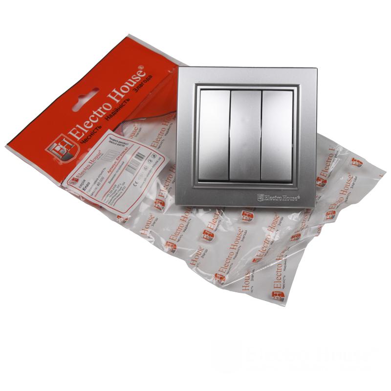 ElectroHouse Выключатель тройной Серебряный камень Enzo IP22