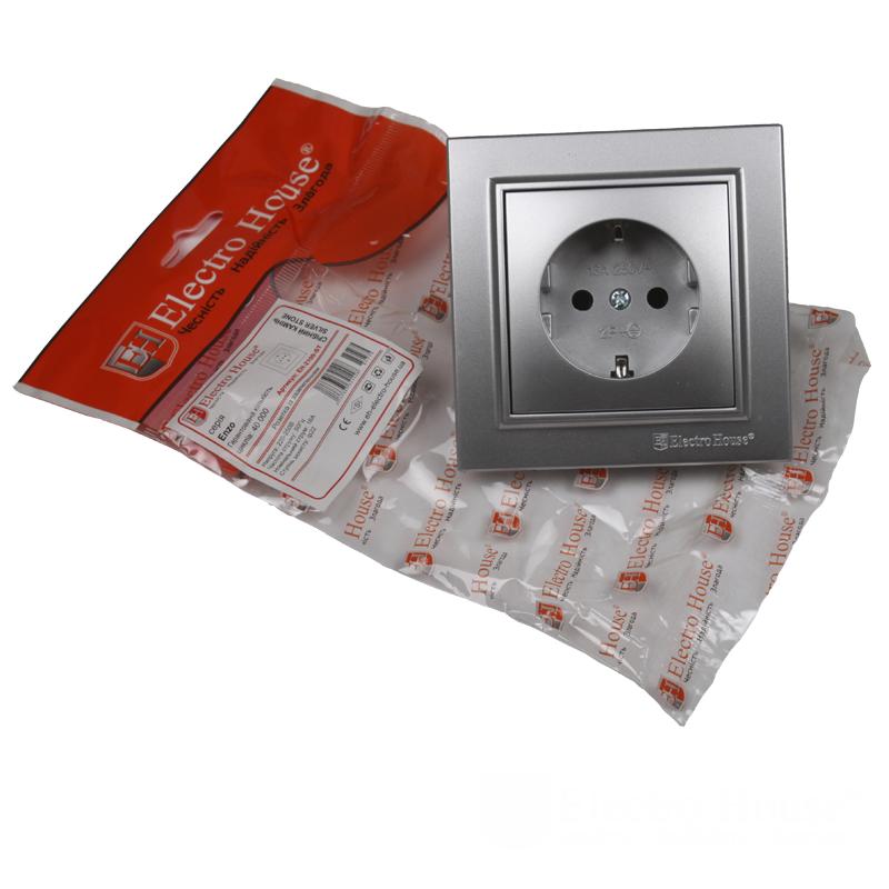 ElectroHouse Розетка с заземлением Серебряный камень Enzo 16A IP22
