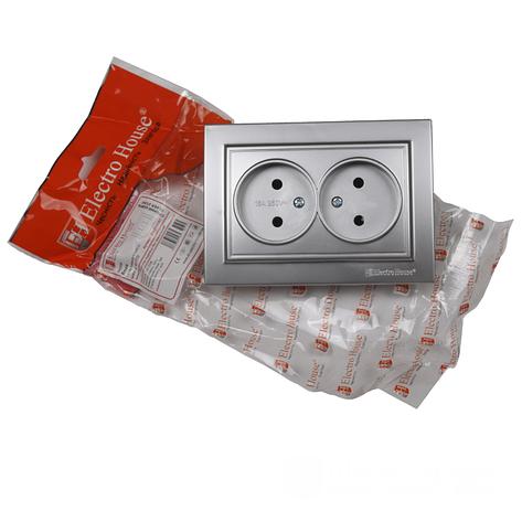 ElectroHouse Розетка двойная без заземления Серебряный камень Enzo 16A IP22, фото 2