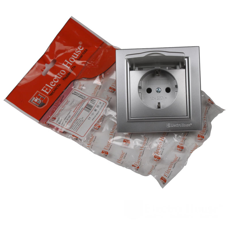 ElectroHouse Розетка с крышкой Серебряный камень Enzo 16A IP22