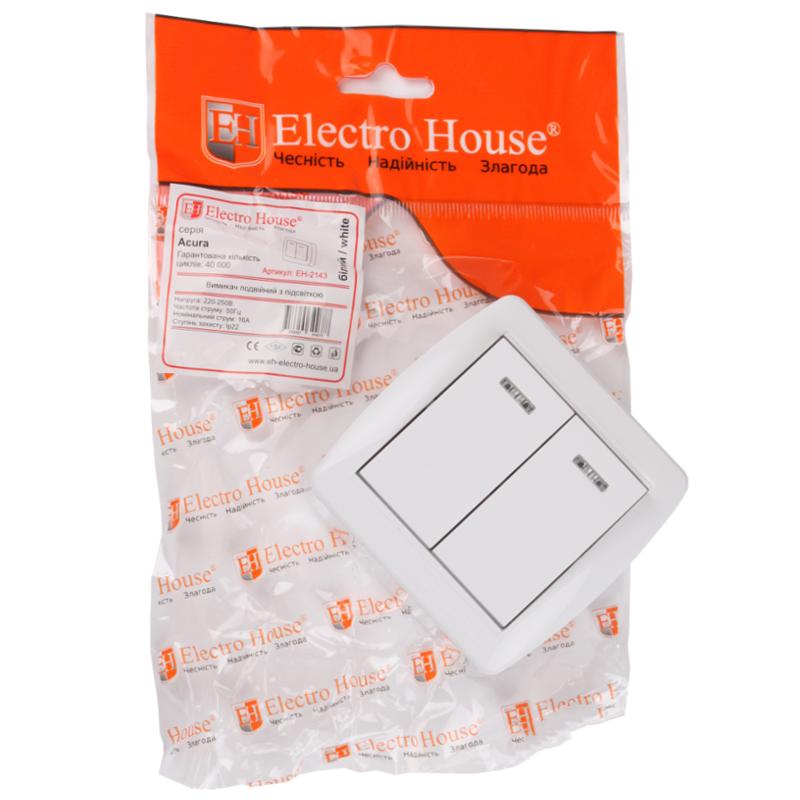 ElectroHouse Выключатель двойной с подсветкой Acura IP22