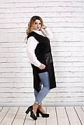 Женская удлиненная накидка с карманами 0740 / размер 42-74 / цвет черный, фото 2