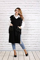 Женская удлиненная накидка с карманами 0740   размер 42-74   цвет черный c2e95d6143861