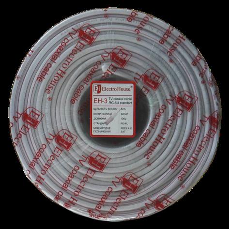 ElectroHouse Телевизионный (коаксиальный) кабель RG-6U CCS 1,02 Cu белый ПВХ, фото 2