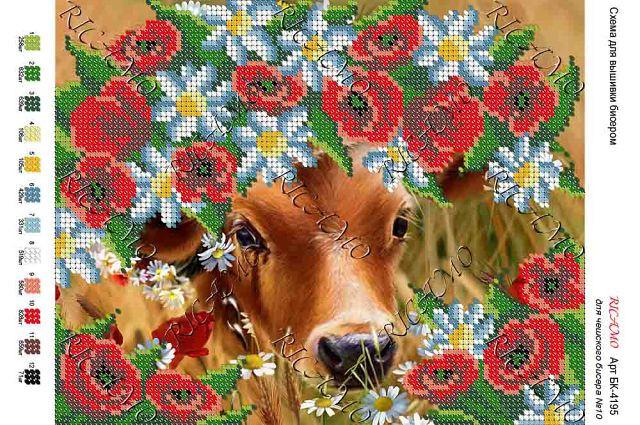 Корова в цветах вышивка