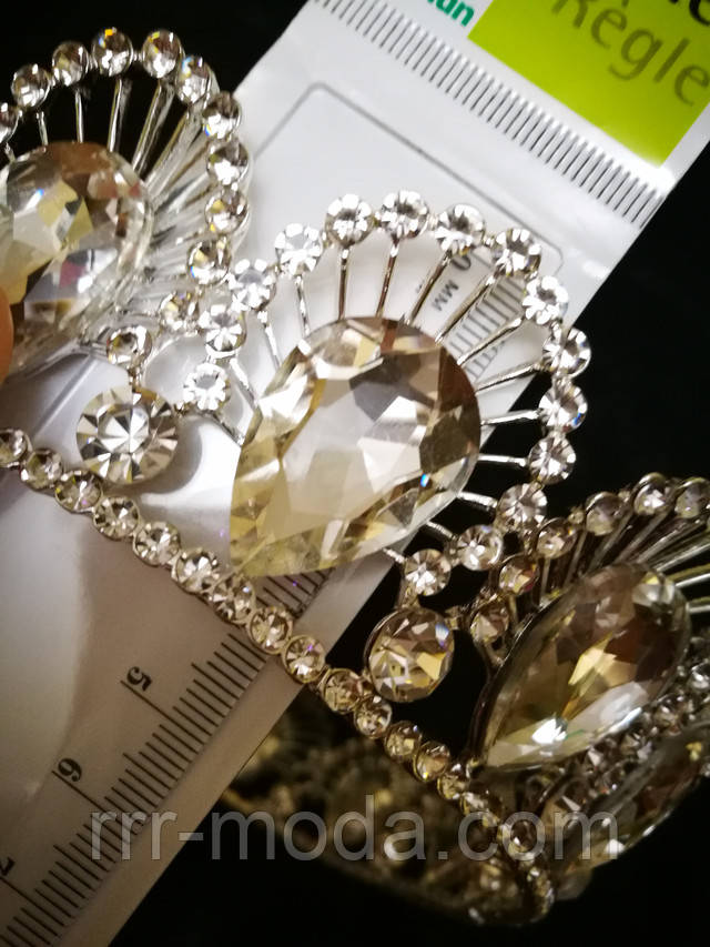 Круглые свадебные короны из белых крупных кристаллов оптом.
