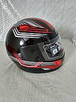 Шлем для скутера  черный глянцевый с красно-серыми узорами F2, размер M(57-58)