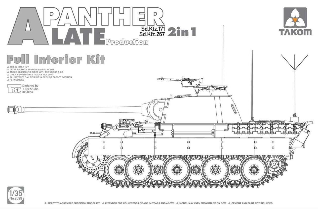 """Sd.Kfz.171 / 267 """"Panther"""" A, позднего производства с полным интерьером. 1/35 TAKOM 2099"""