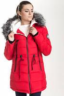 Зимняя куртка 17-13 Красный+Черный, фото 1