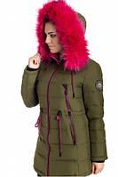 Зимняя куртка 17-13 Хаки+Розовый, фото 1