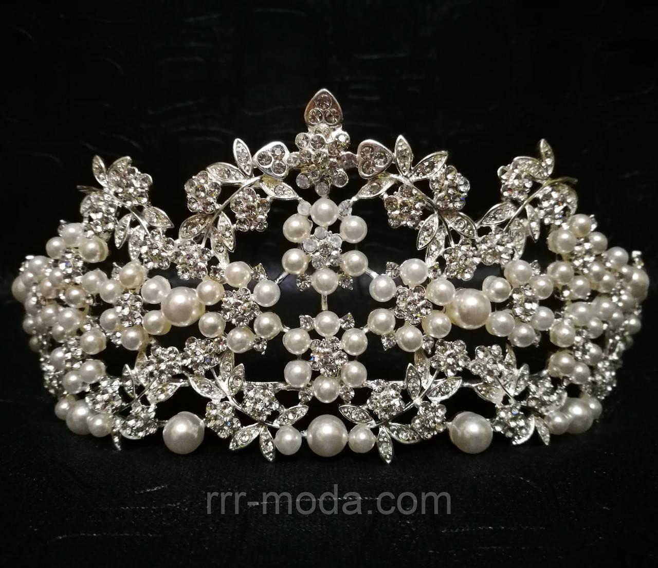 Интересные свадебные короны с жемчугом. Необычная высокая корона из страз и жемчуга 165