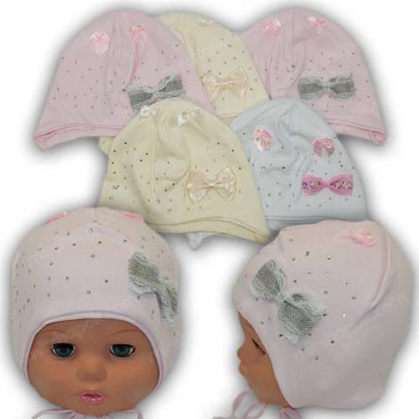 Детская двойная трикотажная шапка на завязках, р. 42-44
