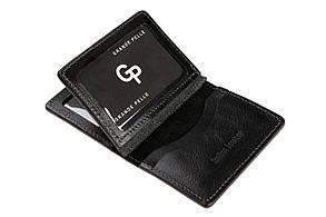 Обкладинка на права тех. паспорт ID паспорт посвідчення Grande Pelle 100х70х15 глянцева шкіра чорний
