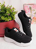 Черные кроссовки женские на шнуровке 25757, фото 1