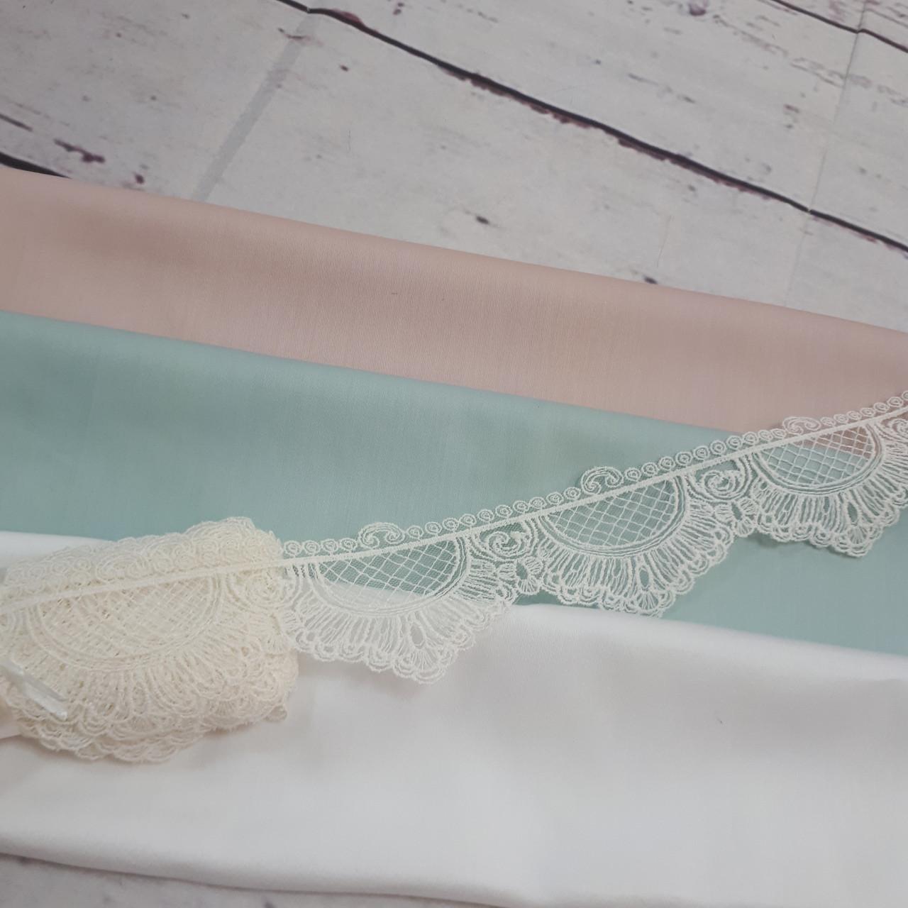 Кружево прозрачное (6,5см) белого цвета в сеточку (длина - 9м)