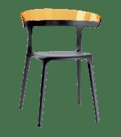 Кресло Papatya Luna антрацит сиденье, верх прозрачно-оранжевый, фото 1