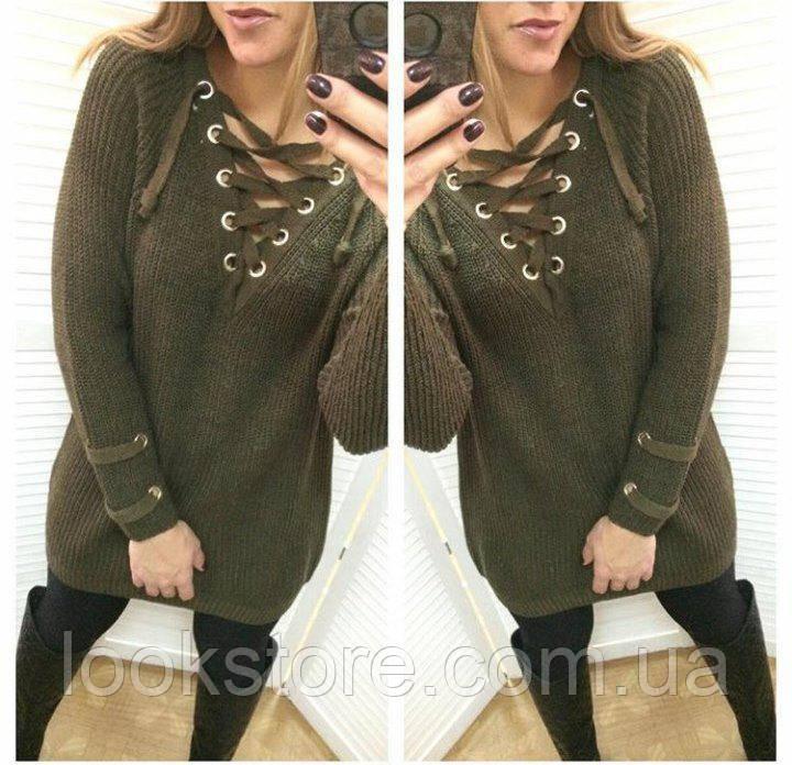 e121a3773c4 ... Женский удлинённый свитер туника с колечками на шнуровке хаки