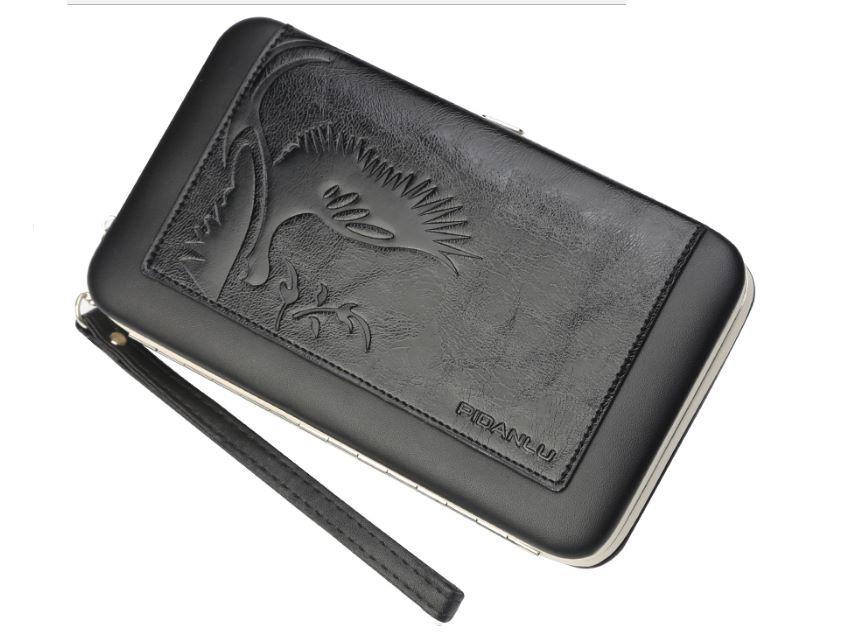 Женский кошелек PIDANLU Phoenix Wallet кожаное портмоне с ремешком Черный (SUN1342)