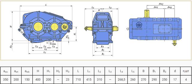 Габаритні розміри редуктора РМ-350 креслення