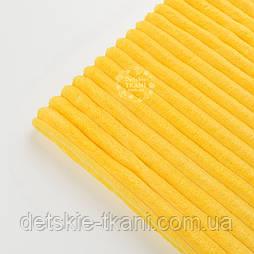 Відріз плюшу в смужку Stripes жовтого кольору 100*80 см