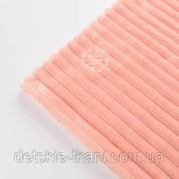 Відріз плюшу в смужку Stripes персикового кольору 100*80 см