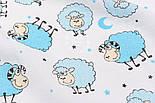 "Ткань муслин ""Овечки голубые"" на белом, ширина 80 см, фото 2"