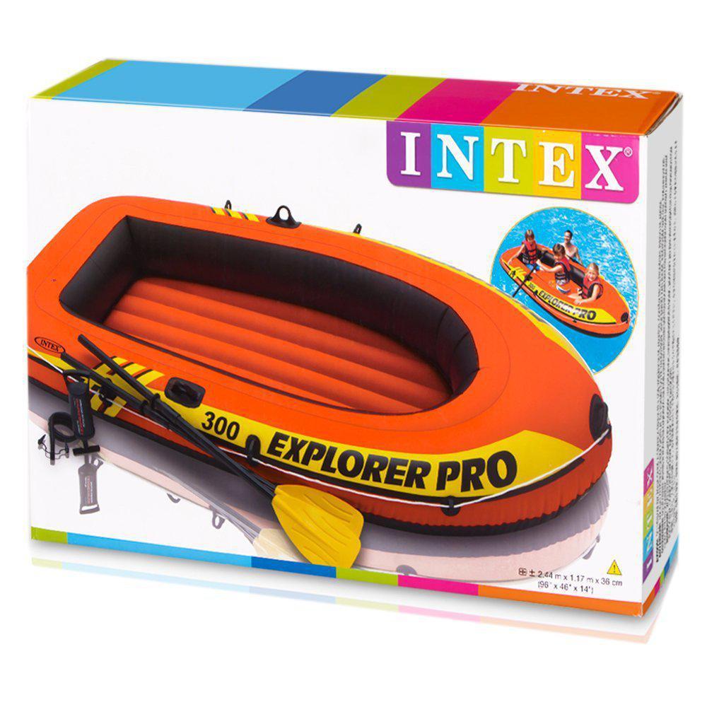 Тримісна надувний човен 58358 Intex + пластикові весла і ручний насос Explorer Pro 300 Set 244x117x36 см