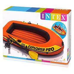 Трехместная надувная лодка 58358 Intex + пластиковые весла и ручной насос Explorer Pro 300 Set 244x117x36 cм