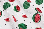"""Ткань муслин """"Красно-зелёные арбузы"""" на белом, ширина 80 см, фото 2"""