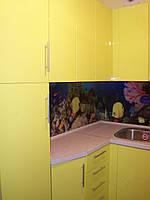 Кухня Желтая, глянец, скинали, угловая, фото 1