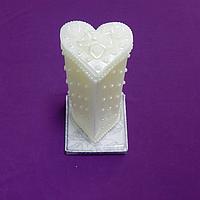 """Свеча свадебная """"Жемчуг"""" в форме сердца 11 см"""