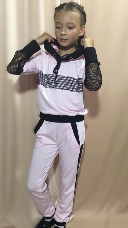 47b20eda68830 Детский спортивный костюм двух нить декор плетёная сетка рост:128-146 см