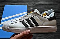 Кросівки Adidas Superstar Supercolor white/black/gold. Живе фото. Самовивіз (Репліка ААА+), фото 1